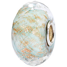 Buy Trollbeads Sterling Silver Balance Glass Bead Charm, Aqua/Gold Online at johnlewis.com