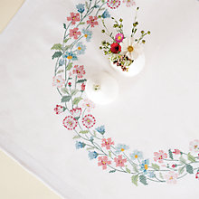 Buy Rico Flower Wreath Table Cloth Cross Stitch Kit, White Online at johnlewis.com
