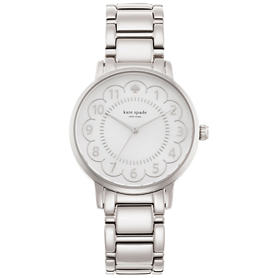 kate spade new york 1YRU0792 Women's Gramercy Scalloped Bracelet Strap Watch, Silver/White