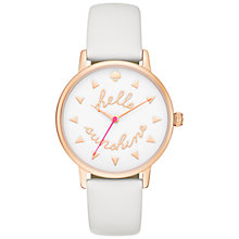 Buy kate spade new york KSW1089 Women's Metro Hello Sunshine Leather Strap Watch, White Online at johnlewis.com