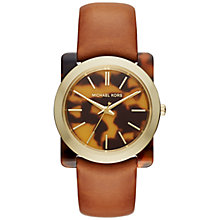 Buy Michael Kors MK2484 Women's Kempton Leather Strap Watch, Tan/Multi Online at johnlewis.com
