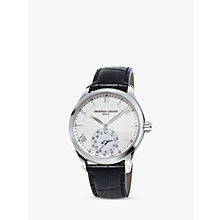 Buy Frédérique Constant FC-285S5B6 Men's Horological Smartwatch MotionX Leather Strap Watch, Black/White Online at johnlewis.com