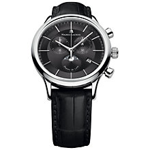 Buy Maurice Lacroix LC1148-SS001-331 Men's Les Classiques Phases de Lune Chronograph Leather Strap Watch, Black Online at johnlewis.com