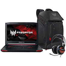 Buy Acer Predator G9-591 Laptop with Predator Backpack and Predator Gaming Headset and Microsoft 900 Wireless Mouse, Black Online at johnlewis.com