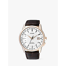 Buy Citizen CB0153-21A Men's World Perpetual AT Date Leather Strap Watch, Brown/White Online at johnlewis.com