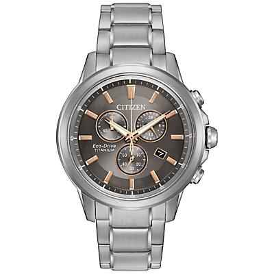 Citizen AT234056H Mens Chronograph Date Titanium Bracelet Strap Watch SilverAsh Grey