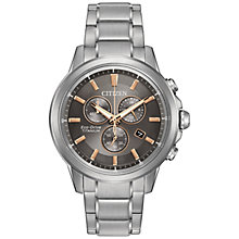 Buy Citizen AT2340-56H Men's Chronograph Date Titanium Bracelet Strap Watch, Silver/Ash Grey Online at johnlewis.com