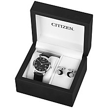 Buy Citizen AW1231-07E SET Men's Date Leather Strap Watch and Cufflinks Gift Set, Black Online at johnlewis.com