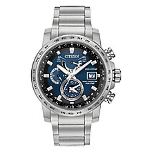 Buy Citizen AT9070-51L Men's World Time A-T Chronograph Date Bracelet Strap Watch, Silver/Navy Online at johnlewis.com