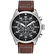Buy Citizen CA4210-24E Men's Avion Chronograph Date Leather Strap Watch, Brown/Black Online at johnlewis.com