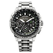 Buy Citizen CC9030-51E Men's Promaster Navihawk GPS Chronograph Date Bracelet Strap Watch, Silver/Black Online at johnlewis.com