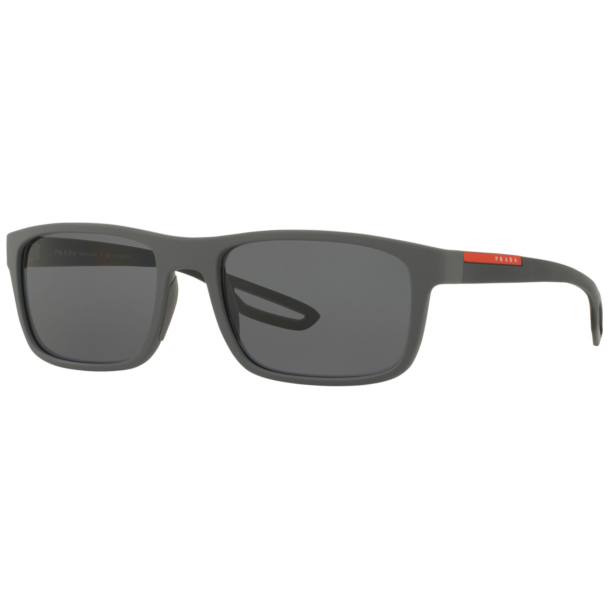 Prada Linea Rossa Prada Linea Rossa SPS03R Polarised Rectangular Sunglasses, Matte Grey