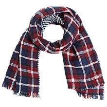 Buy Miss Selfridge Check Reverse Scarf, Burgundy Online at johnlewis.com