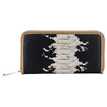Buy Paul's Boutique Lizzie Zip Around Snake Print Purse, Black / Stone Online at johnlewis.com