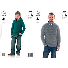 Buy King Cole Chunky Men's and Boy's Hooded Jumper Knitting Pattern, 4087 Online at johnlewis.com