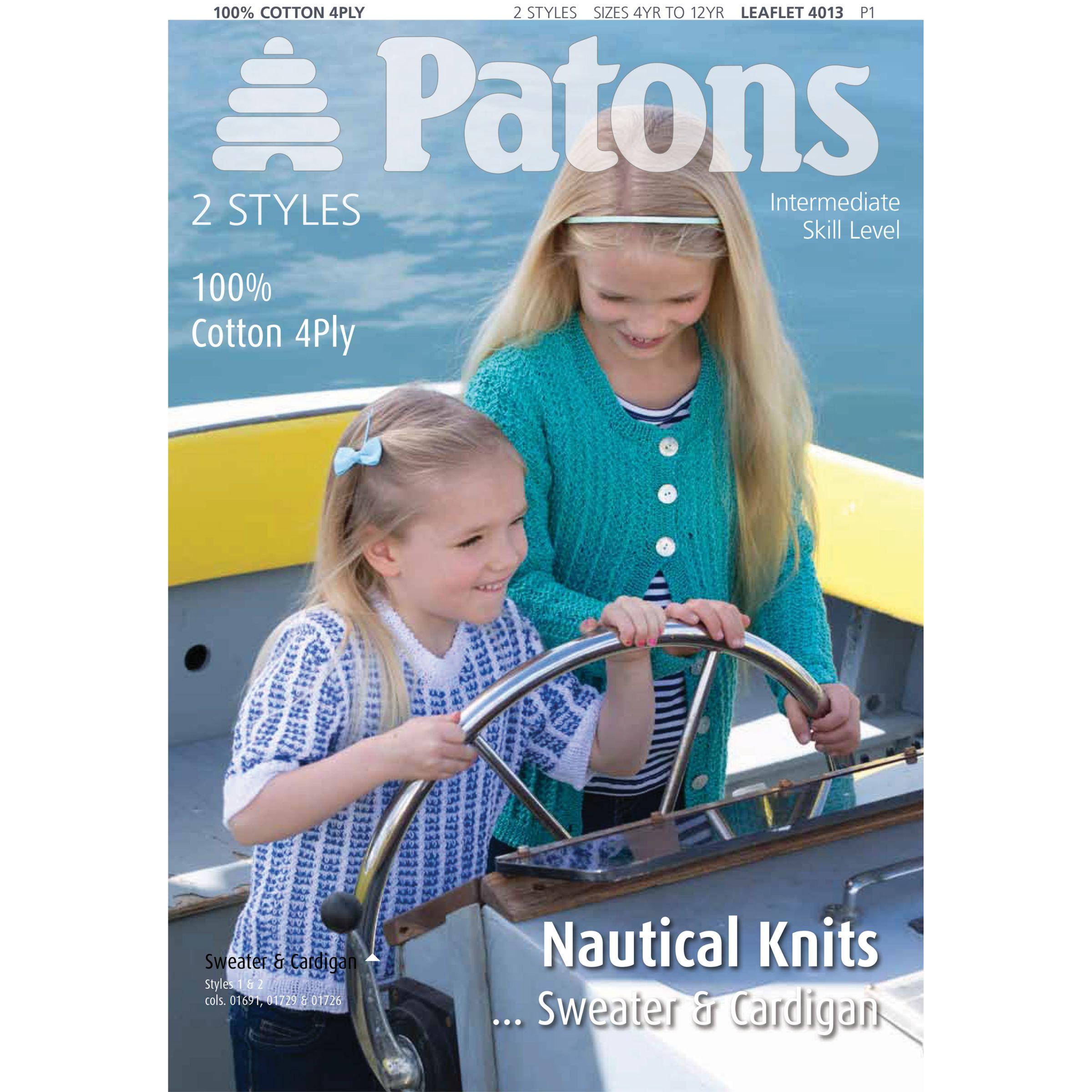 Patons Patons 100% Cotton 4 Ply Nautical Sweater and Cardigan Knitting Pattern, 4013