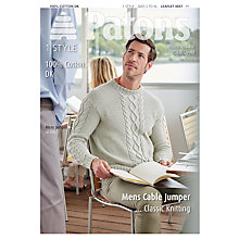 Buy Patons 100% Cotton DK Men's Cable Jumper Knitting Pattern, 4057 Online at johnlewis.com