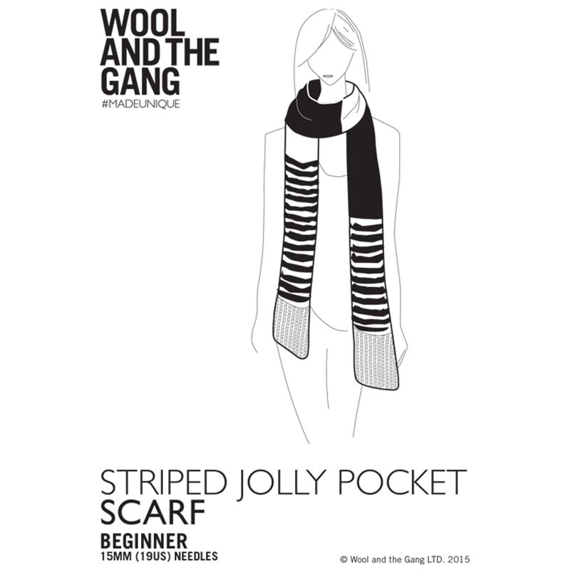 Knitting Patterns Wool And The Gang : Buy Wool and the Gang Striped Jolly Pocket Scarf Knitting Pattern John Lewis