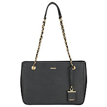 Buy DKNY Bryant Park Saffiano Leather Chain Shopper Bag, Black Online at johnlewis.com