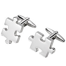 Buy John Lewis Puzzle Piece Cufflinks, Silver Online at johnlewis.com