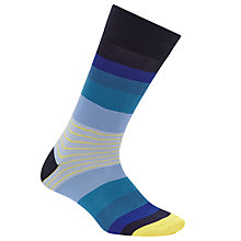 Buy Paul Smith Twin Block Stripe Socks, Single Pair, One Size, Blue Online at johnlewis.com