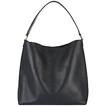 Buy Jaeger Oxford Leather Hobo Bag, Black Online at johnlewis.com
