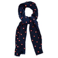 Buy Oasis Heart Print Scarf, Navy/Coral Online at johnlewis.com