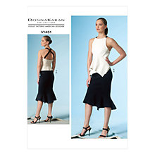 Buy Vogue Women's Donna Karan Top and Skirt Sewing Pattern, 1451 Online at johnlewis.com