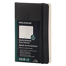 Buy Moleskine 18 Month Weekly Diary/Planner Notebook 2016-17, Black Online at johnlewis.com
