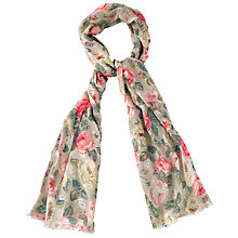 Buy Cath Kidston Forest Rose Scarf, Taupe/Pink Online at johnlewis.com