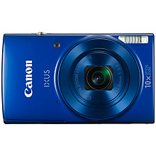 "Buy Canon IXUS 180 Digital Camera, HD 720p, 20MP, 10x Optical Zoom, 20x Zoom Plus, Wi-Fi, NFC, 2.7"" LCD Screen with Wrist Strap Online at johnlewis.com"