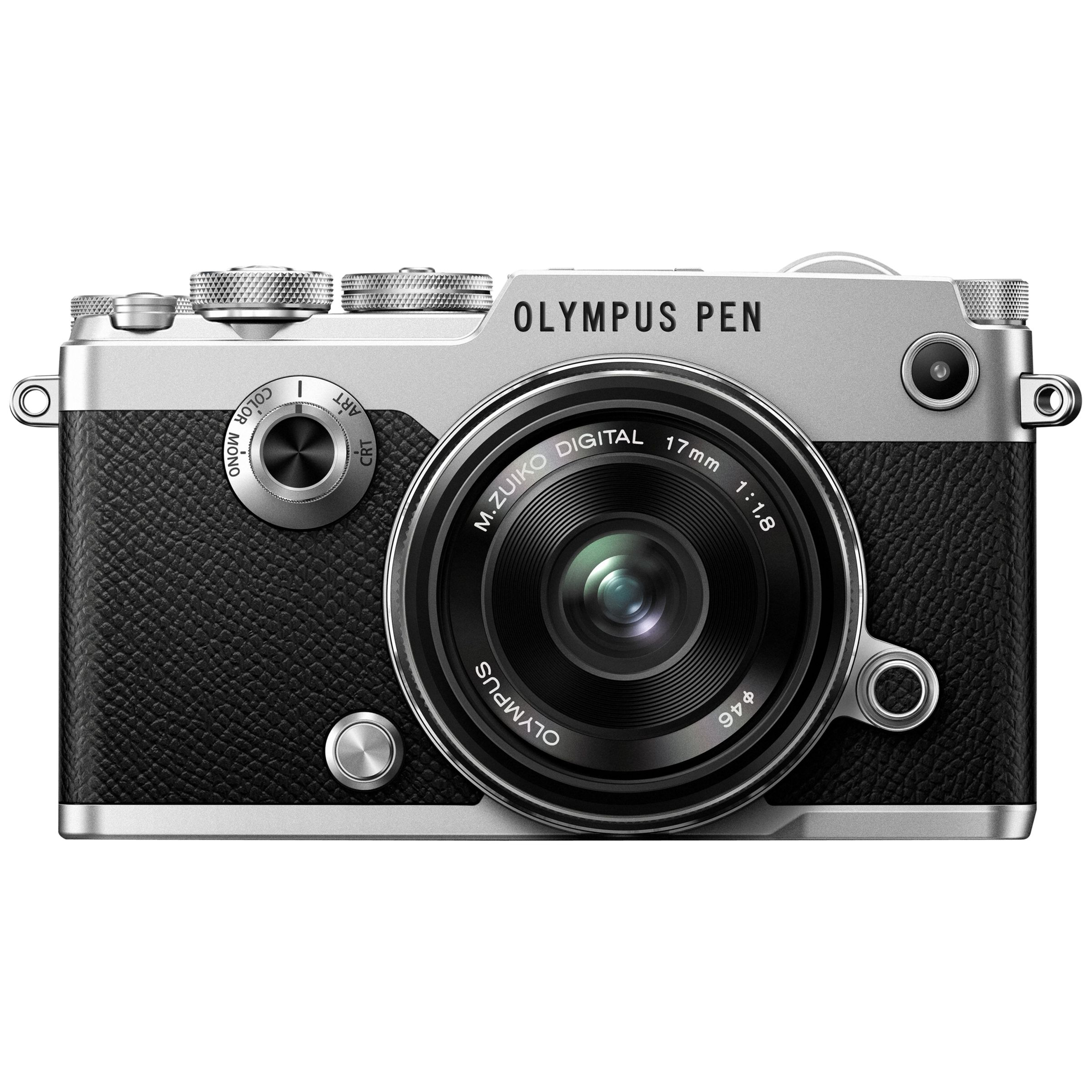 Olympus Olympus Pen F Compact System Camera With M.ZUIKO 17mm Prime Lens, HD 1080p, 20.3MP, Wi-Fi, Front Creative Dial, 5-Axis IS, 3 Vari-Angle Touch Monitor, Silver