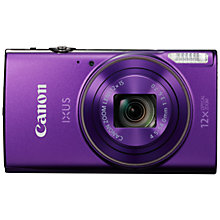 "Buy Canon IXUS 285 HS Digital Camera Kit, Full HD 1080p, 20.2MP, 12x Optical Zoom, 24x Zoom Plus, Wi-Fi, NFC, 3"" LCD Screen With Leather Case & 8GB SD Card, Purple Online at johnlewis.com"