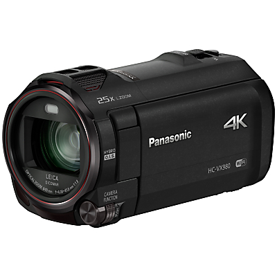 "Panasonic HC-VX980EBK 4K Ultra HD Camcorder, 8.29MP, 20x Optical Zoom, Level Shot, Wi-Fi & 3"" Touch Screen, Black"