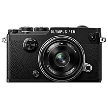 "Buy Olympus Pen F Compact System Camera With M.ZUIKO 17mm Prime Lens, HD 1080p, 20.3MP, Wi-Fi, Front Creative Dial, 5-Axis IS, 3"" Vari-Angle Touch Monitor, Silver Online at johnlewis.com"