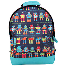 Buy Mi-Pac Mini Robots Print Backpack, Blue/Multi Online at johnlewis.com