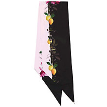 Buy Ted Baker Casana Citrus Bloom Skinny Scarf, Black/Pastel Pink Online at johnlewis.com