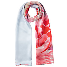 Buy Ted Baker Fraya Focus Bouquet Silk Scarf, Pale Blue/Pink Online at johnlewis.com