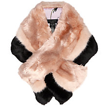 Buy Ted Baker Triple Stripe Faux Fur Scarf, Pale Pink/Black Online at johnlewis.com