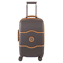 Buy Delsey Chatelet Plus Hard 4-Wheel 55cm Cabin Suitcase, Chocolate Online at johnlewis.com