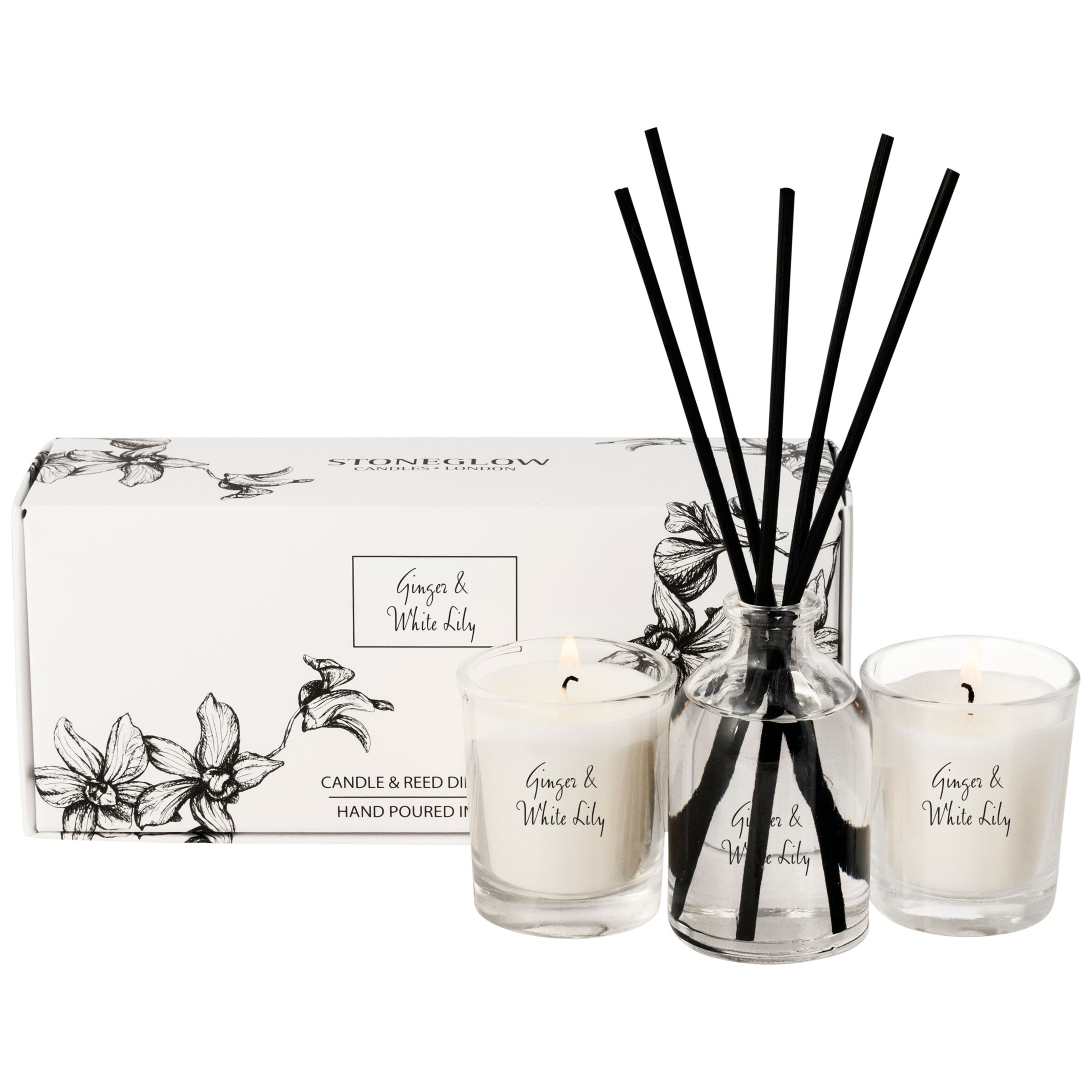 Stoneglow Stoneglow Scented Candles and Diffuser Gift Set, New Ginger and White Lily