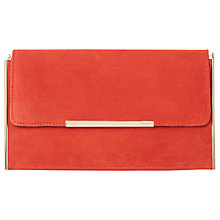 Buy Dune Blanka Clutch Bag, Orange Suede Online at johnlewis.com