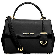 Buy MICHAEL Michael Kors Ava Small Saffiano Leather Satchel, Black Online at johnlewis.com