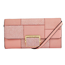 Buy MICHAEL Michael Kors Cynthia Large Leather Clutch Bag, Pale Pink Online at johnlewis.com