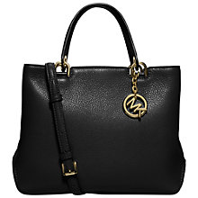 Buy MICHAEL Michael Kors Anabelle Medium Top Zip Leather Tote Bag, Black Online at johnlewis.com