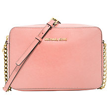 Buy MICHAEL Michael Kors Jet Set Travel Leather Across Body Bag, Pink Online at johnlewis.com