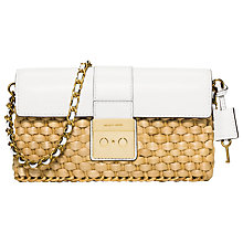 Buy MICHAEL Michael Kors Gabriella Straw Clutch Bag, White Online at johnlewis.com