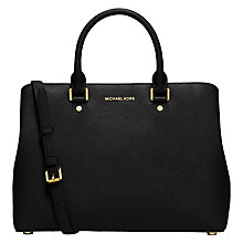 Buy MICHAEL Michael Kors Savannah Large Leather Satchel, Black Online at johnlewis.com