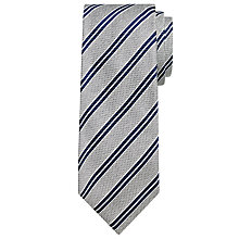 Buy John Lewis Made in Italy Texture Stripe Silk Tie, Silver/Navy Online at johnlewis.com