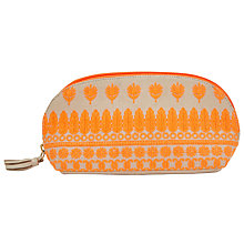 Buy John Lewis Embroidered Flower Large Pouch, Orange Online at johnlewis.com